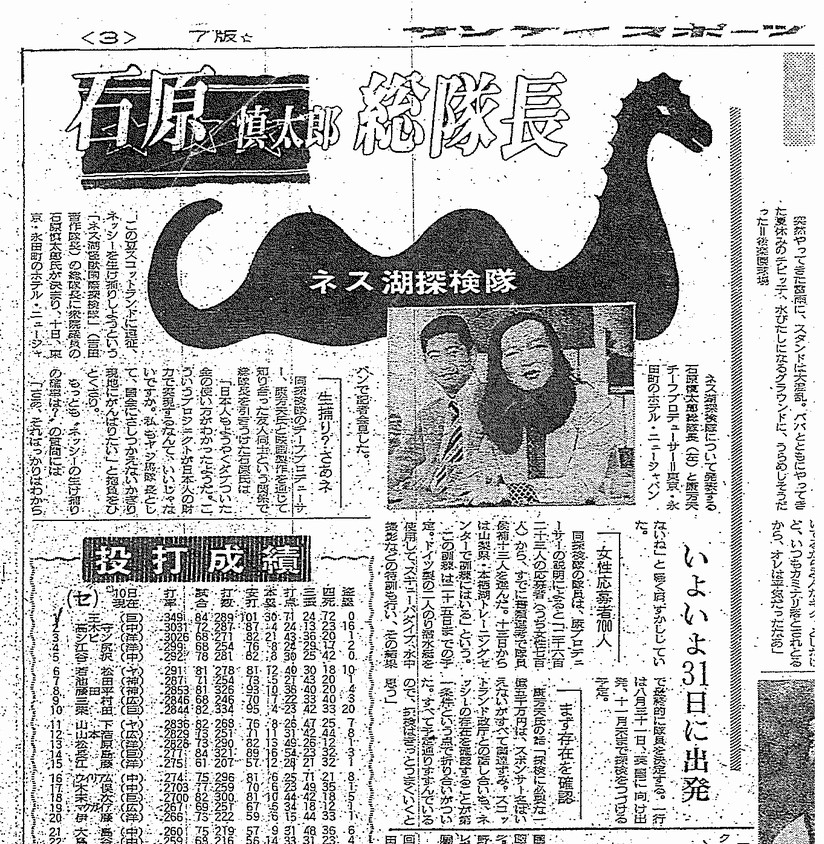 ネス湖探検隊:サンケースポーツ(1973年(昭和48年)8月11日 土曜日)