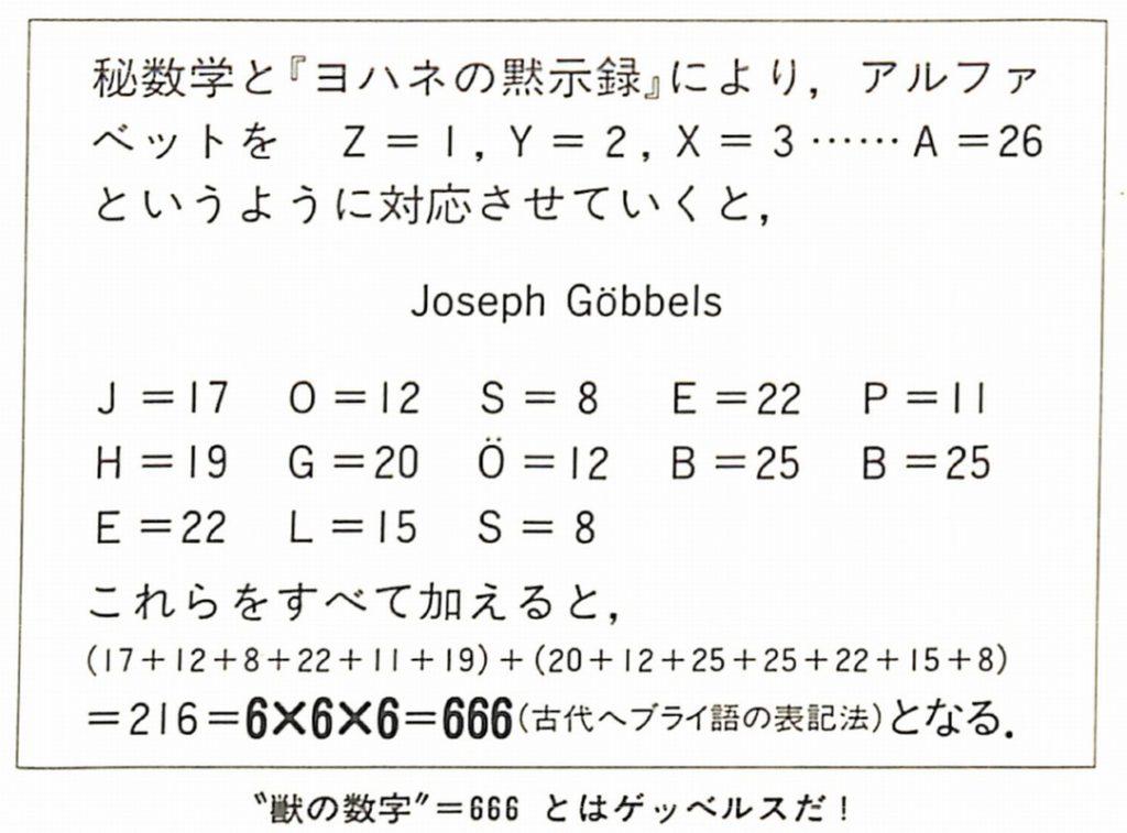 「ゲッベルス=六六六」は何を意味する?